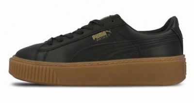 Womens Size 8.5 Black Puma Basket Platform Core Leather Sneakers 364040 03 used