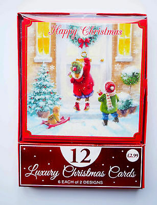 Christmas Cards Boxed Envelopes Xmas Bumper Box Pack of 12 Children Assorted Dog