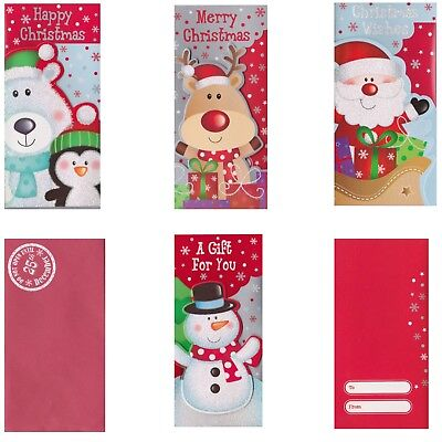 Pack of Childrens Christmas Money Wallet 4 x Money Gift Card Kids Xmas Gift Card