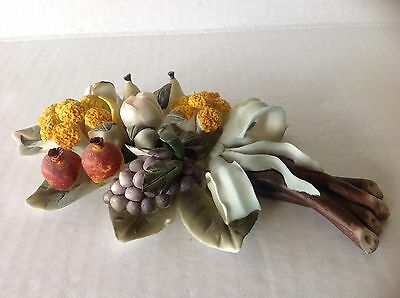 Italian Ceramic Amore Porcelain Capodimonte Style Flowers and Fruits on stems
