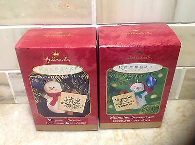 Hallmark Keepsake Ornaments MILLENNIUM SNOWMAN AND MILLENNIUM SNOWMA' AM NIB