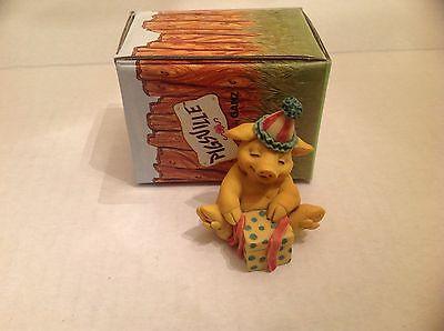 Ganz Pigsville Figurine Birthday Surprise 1993 NIB