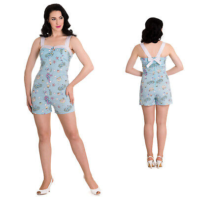 Hell Bunny Sea Sparkle playsuit Shorts Top 1950's Rockabilly Vintage Pin Up Girl