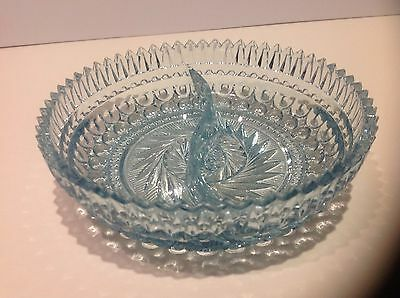 Elegant Glass Divided Aqua Blue Dish, pinwheel central design & sawtooth edge