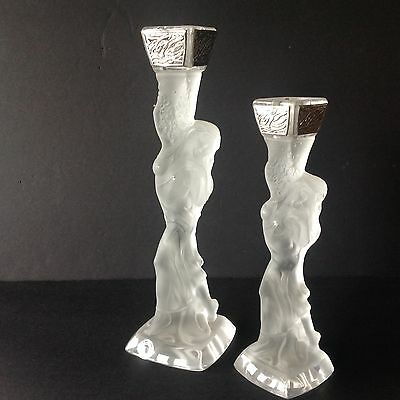 2 Vtg. Lalique Style Candlesticks Silver/Crystal Frosted Woman StilArte Italy