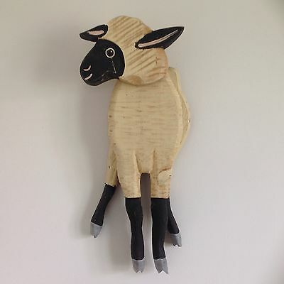 Beautiful vintage hand crafted wooden Sheep