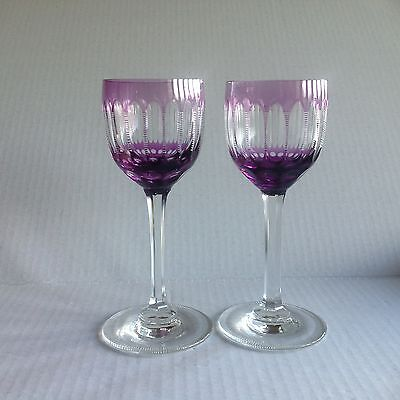 2 Baccarat or Bohemian Purple cut to Clear Crystal Goblets Wine/Claret