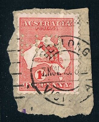 Victoria • Private Perfin HB on 1d red Kangaroo