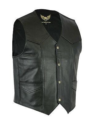 Mens' Classic Real Leather Bikers Fashion Waistcoat Black motorcycle vest