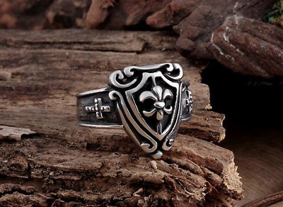Templar Knights Crusades Masonic Shield Cross Celtic Silver Men's SIZE 8-11 Ring