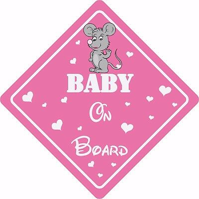 BABY ON BOARD MOUSE Car Sign Car Sticker Baby Child Children Safety Kids Pink