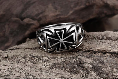 Knight Templar Crusades Masonic Iron Maltese Cross Hot Fire WW2 Men S.8-11 Ring