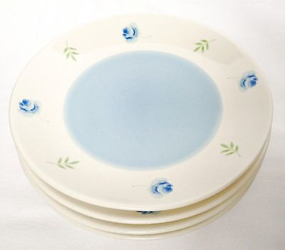 Arthur Wood Blue Rose Salad Plates x 4 - Cream With Blue Rose - 8 Inch