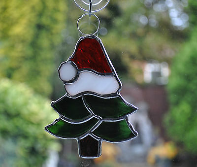 Christmas stained glass decoration - Christmas Tree with Santa hat