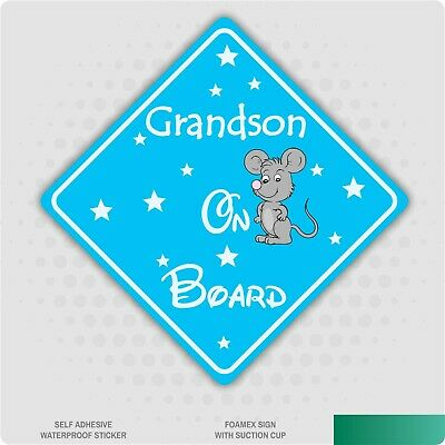 Grandson on Board Mouse Car Sign Sticker Baby Child Children Safety Kids Boy
