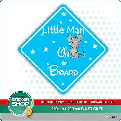 LITTLE MAN ON BOARD MOUSE Car Sign Sticker Baby Child Children Safety Kids Boy