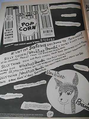 "The Sex Pistols ""popcorn / Who Killed Bambi"" Advert From 1980 A3 Page"