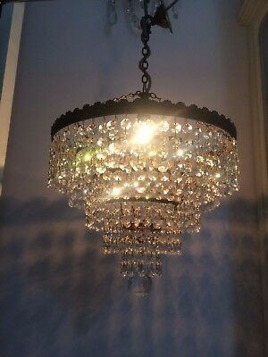Large Sparkling Vintage  Lead Crystal Five Tier Waterfall Chandelier Rewired