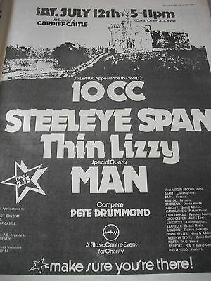 Cardiff Castle Gig Advert 10Cc,steeleye Span,thin Lizzy,man From  1975