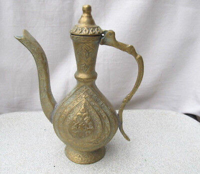 Old Antique Primitive Ottoman Islamic Arabic Bronze Ibrik Jug Pitcher Teapot