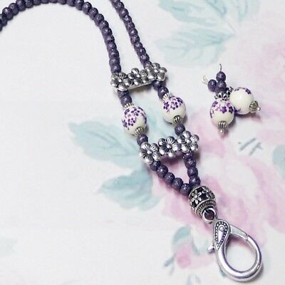 Beaded Necklace Lanyard, keys, work id badge holder - Purple porcelain pearls