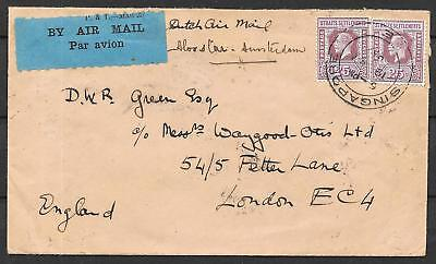 Singapore covers 1932 both sides franked Airmailcover London