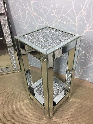 Sparkly Mirrored Glass Large Diamond Crystal End Lamp Display Table 66cm H