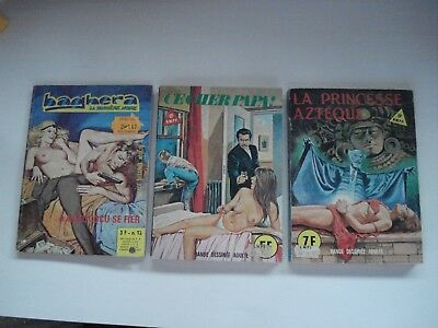 LOT OF 3 FRENCH  POCKET BOOK COMICS FOR ADULTS 1970's VINTAGE