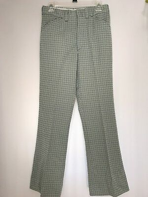 Mens Vtg Plaid Polyester Leisure Pants 28/31 Flare Golf