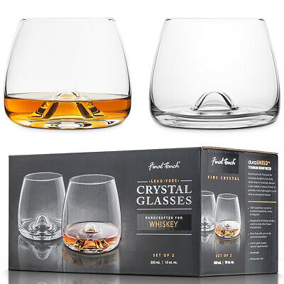 CRYSTAL Whisky Glasses By Final Touch - Scotch Whiskey Glass Tumblers Bar Gift