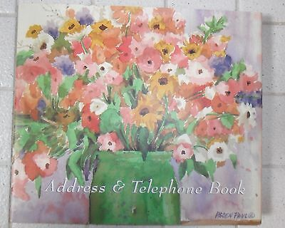 """Address & Telephone Book Floral Watercolor Illustrations Helen Paul NEW 9¼x8¼x¾"""""""