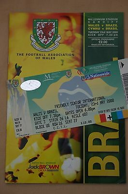 Wales v Brazil International Friendly 2000 Programme + Ticket Stub