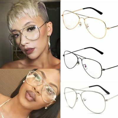 New Clear Lens Aviator Glasses Fashion Pilot Metal Frame Gold Silver Sunglasses