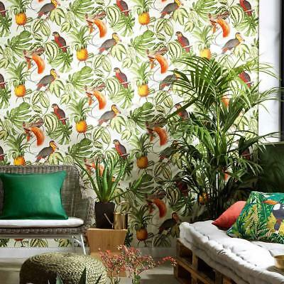 White / Multi Tropical Birds Wallpaper With Pineapples Jungle Themed 6302-07