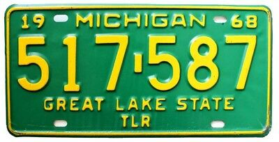 Vintage Michigan 1968 Trailer License Plate for Airstream, Shasta, Kenskill