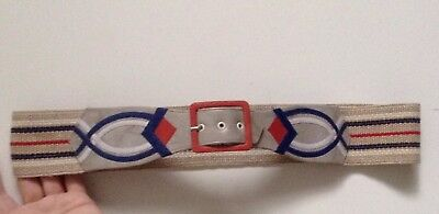 Vintage Sheila Pearson Sussex Stunning Hand Crafted Leather & Fabric Belt W34-36