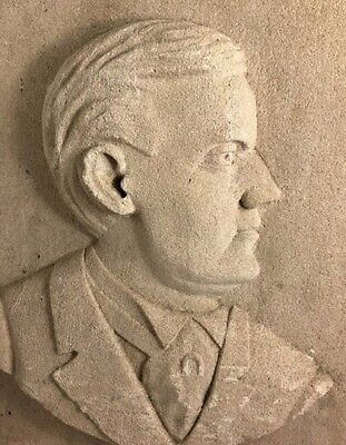 Early 20th Century Folk Art Stone Relief Carving of a Man