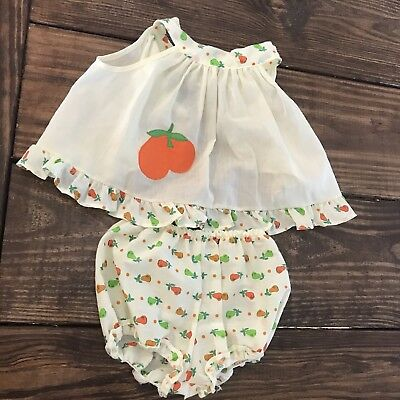 Vintage Fawn Togs Yellow Pear Open Back Top Bloomers Baby Girl Size 12 Months