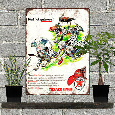 1956 Texaco Dalmatians Dogs BBQ Fire Chief Baked Metal Repro Sign 9x12 60168