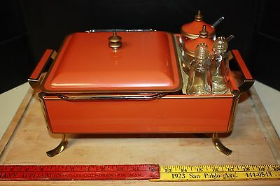 VTG ORANGE SERVER/CHAFING SET w/PYREX DISH, S&P & 2 LIDDED CONDIMENTS~COMPLETE!