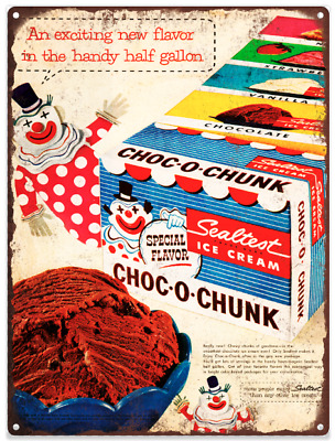 Sealtest Choc-o-Chunk Ice Cream Clown Ad Baked Metal Repro Sign 9x12 60169