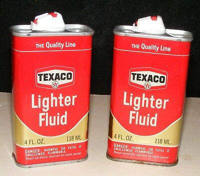 TEXACO CAN VTG LIGHTER FLUID LOT 2  Authentic HANDY HOUSEHOLD OILER STYLE Empty