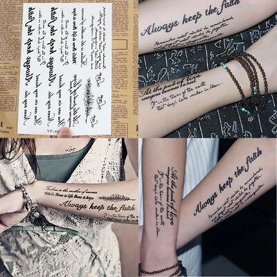 Fashion Punk Temporary Tatto English Word Body Art Women Men Fake Tatoo Sticker