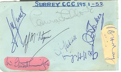 1952 CHAMPIONS SURREY PLAYERS HAND-SIGNED ALBUM PAGE - LOCK, MAY, McMAHON etc