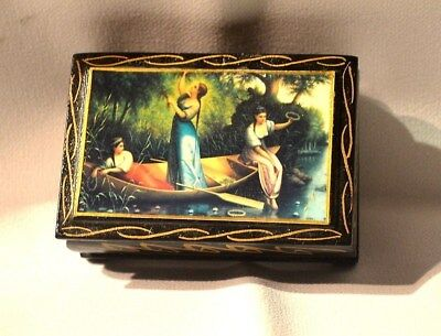 Vintage   Russian  Wooden  Jewerly Box -  Hand Crafted  And Painted