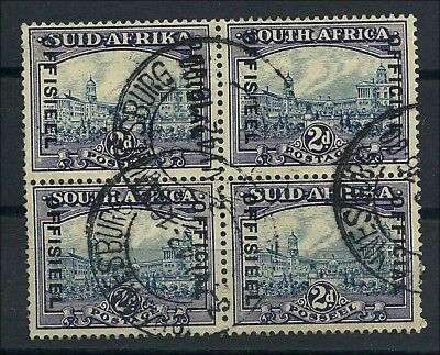 Südafrika  1933/48,  Official 2d block of 2 pairs,  used, some blunt perfs at
