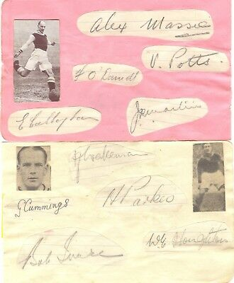 ASTON VILLA 1938/9 PLAYERS x13 HAND-SIGNED ALBUM PAGES - BROOME, HOUGHTON etc