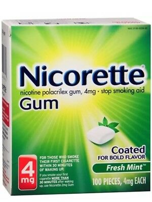 Nicorette Gum 4 mg Fresh Mint 100 Pieces Ex7/17*N