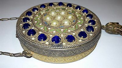 Vintage Jeweled & Enamel Compact w- mirror Impressive  French