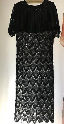 Vtg Jessica Mcclintock Black Lace And Sequin Wiggle Dress See Through Med Size